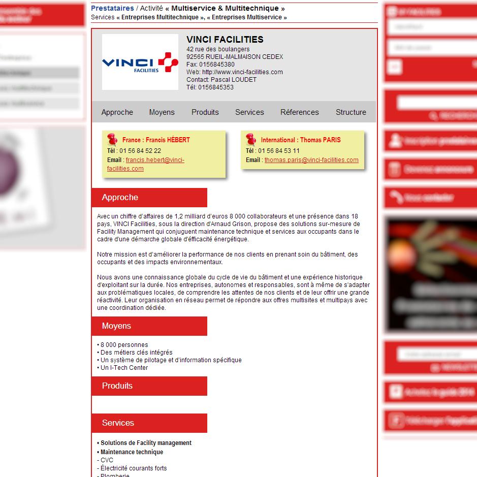 Fiche équivalent 1 page du Guide papier - Facilities, site du Facility management